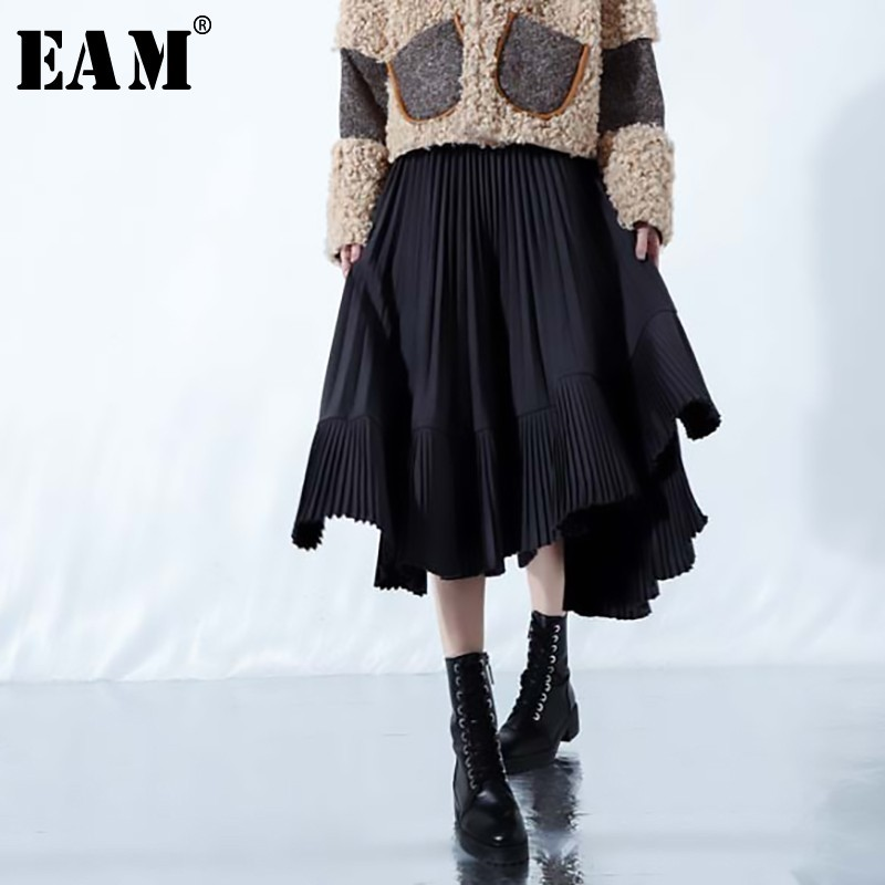 EAM 2019 New Spring Summer High Elastic Waist Black Hem Pleated Stitch Irregular Half body
