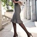 Envío gratis nuevo 2017 primavera verano estilo vintage falda de cintura alta work wear midi faldas para mujer de moda