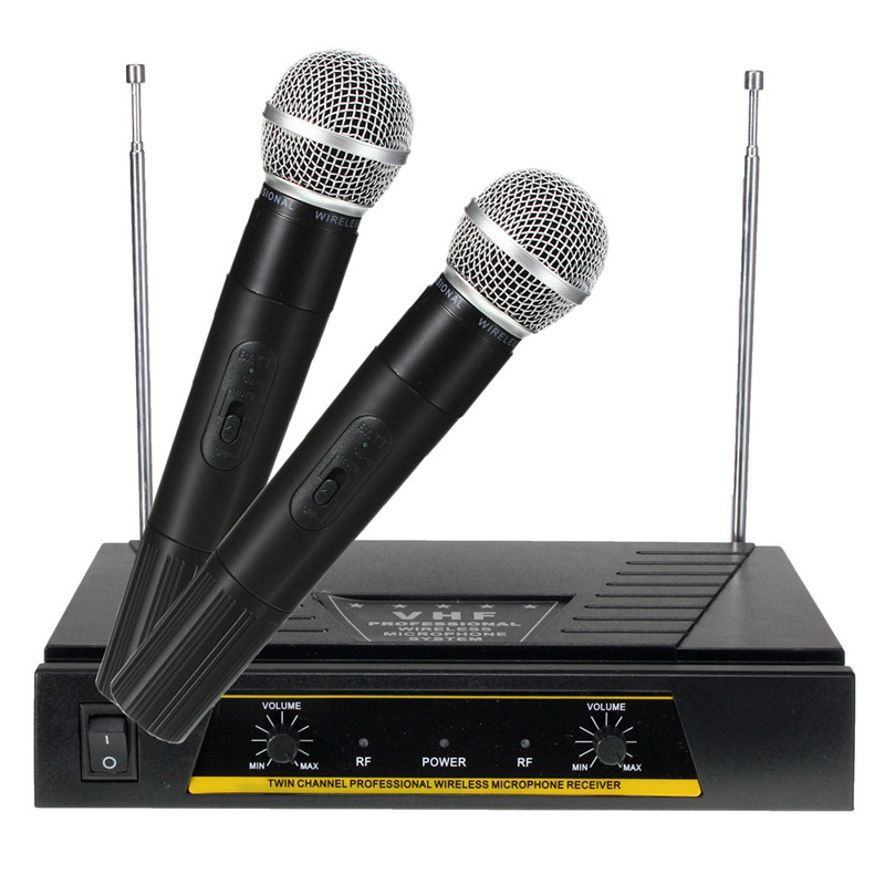 220V 2 Channels VHF Professional Wireless Microphone Pro+Receiver System Dual Handheld Mic for Karaoke KTV Party Speech Studio leory professional vhf wireless microphone system dual handheld 2 x mic cordless receiver for karaoke party ktv speech meeting
