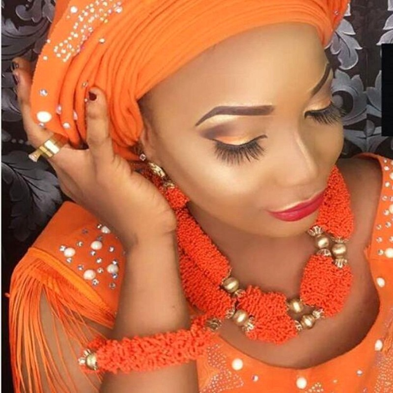 Luxury Bridal African jewelry Set Orange Crystal Nigeria Necklace  Set For Women 2 Layers Dubai jewellery Set 2018 Free ShippingLuxury Bridal African jewelry Set Orange Crystal Nigeria Necklace  Set For Women 2 Layers Dubai jewellery Set 2018 Free Shipping