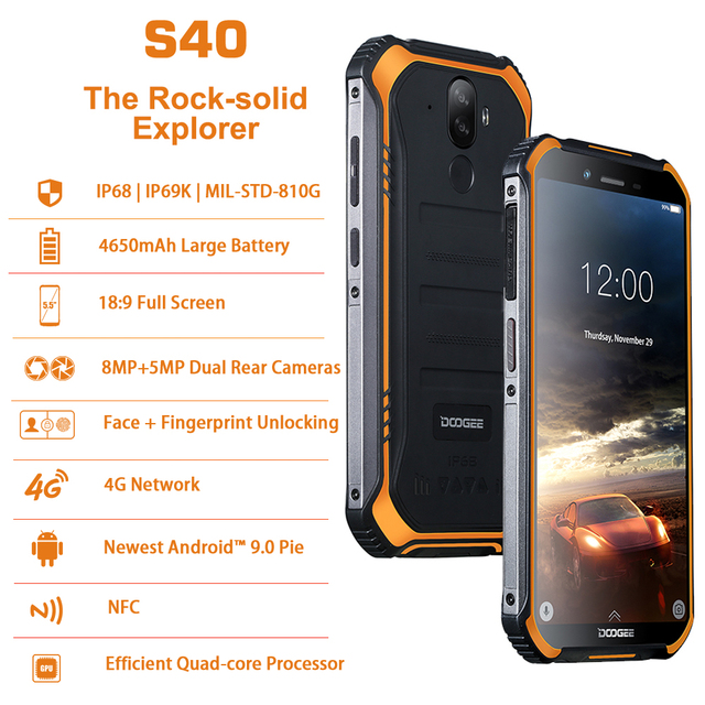 DOOGEE S40 IP68 IP69K Mobile Phone 5.5inch Display 4650mAh MT6739 Quad Core 2GB RAM 16GB ROM Android 9.1 8.0MP Camera 4G Network