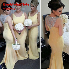 Bridesmaid Dress 2017 Sexy Chiffon Long Sleeveless Crystal Wedding Guest Vestido Festa Custom Made Party Dresses