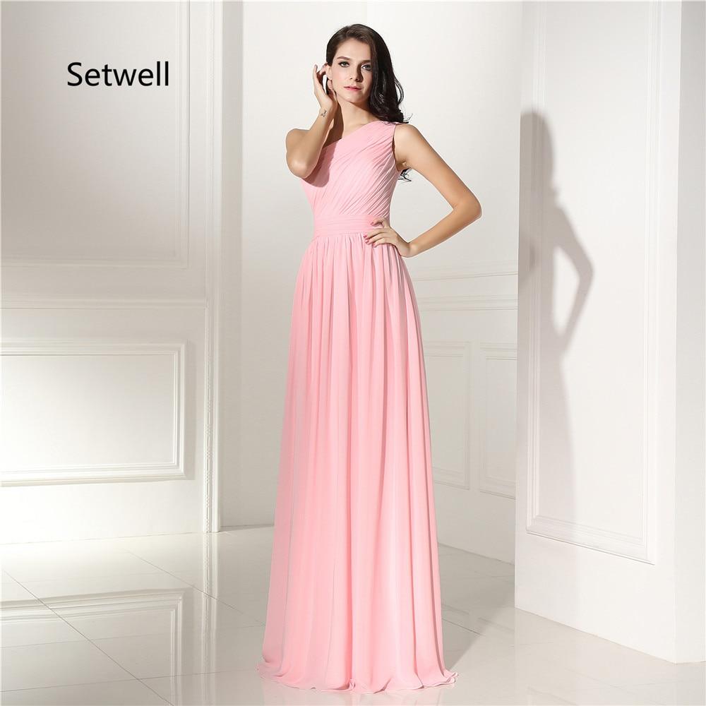 Setwell Cute Pink Simple One Shoulder Bridesmaid Dress ...