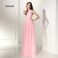 Setwell Cute Pink Simple One Shoulder Bridesmaid Dress Summer Chiffon Beach Wedding Party Gowns Lace Up Back Bridesmaid Dress