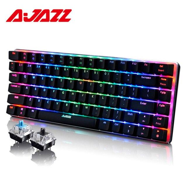 Ajazz AK33 82-клавишная клавиатура Проводная Механическая клавиатура на русском/английская модель синий/черный переключатель RGB подсветкой бесконфликтное