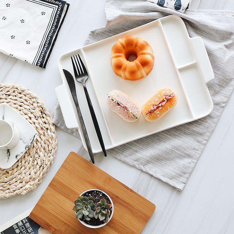 Ceramic Serving Trays with Bamboo Cutting Boards 3