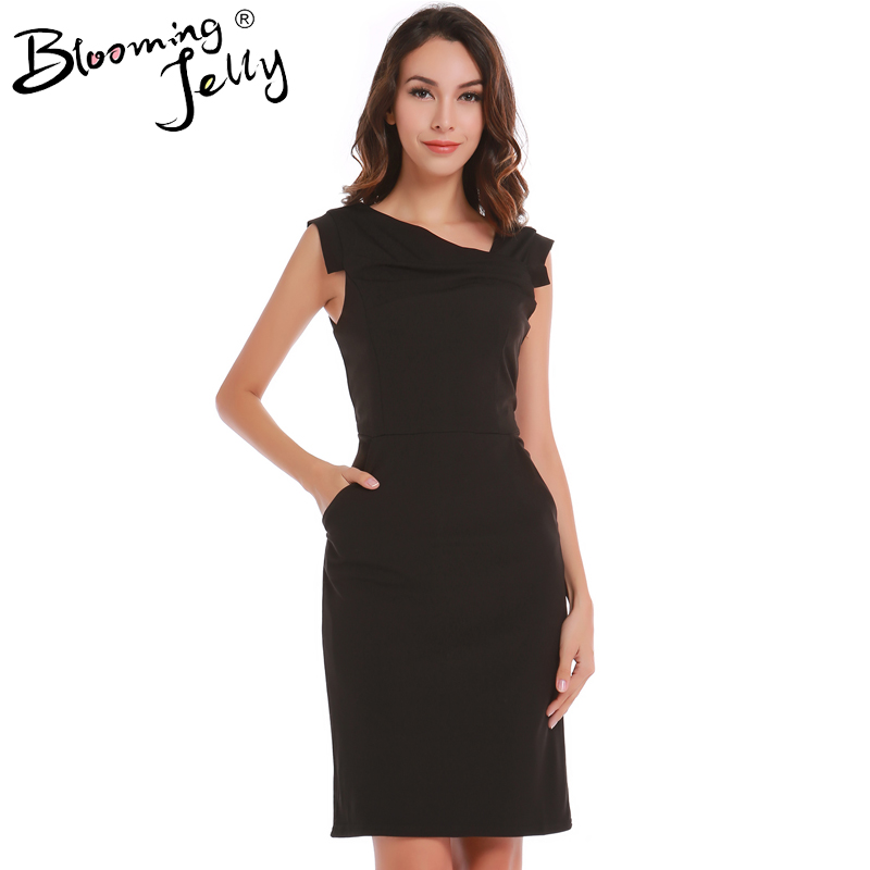 Blooming Jelly Ruched Simple Elegant Basic Black Women Work Office Dress With Pocket Lined Sleeveless Business