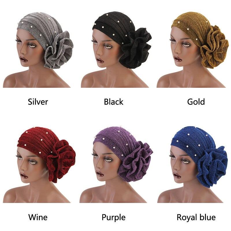 Muslim Beaded Beanie Turban Large Flower Caps Women Headwear Hair Loss Chemo Hat