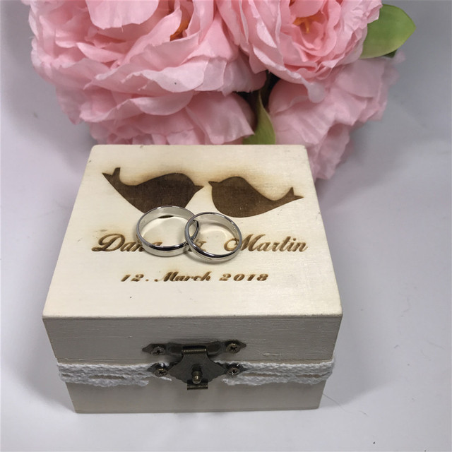 Personalised Love Birds Keepsake Box Wedding Ring Box Wooden Ring