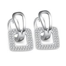 XIYANIKE – boucles d'oreilles carrées en argent Sterling 925, ensemble de diamants de haute qualité, mosaïque en Zircon CZ, cadeau pour femmes et filles