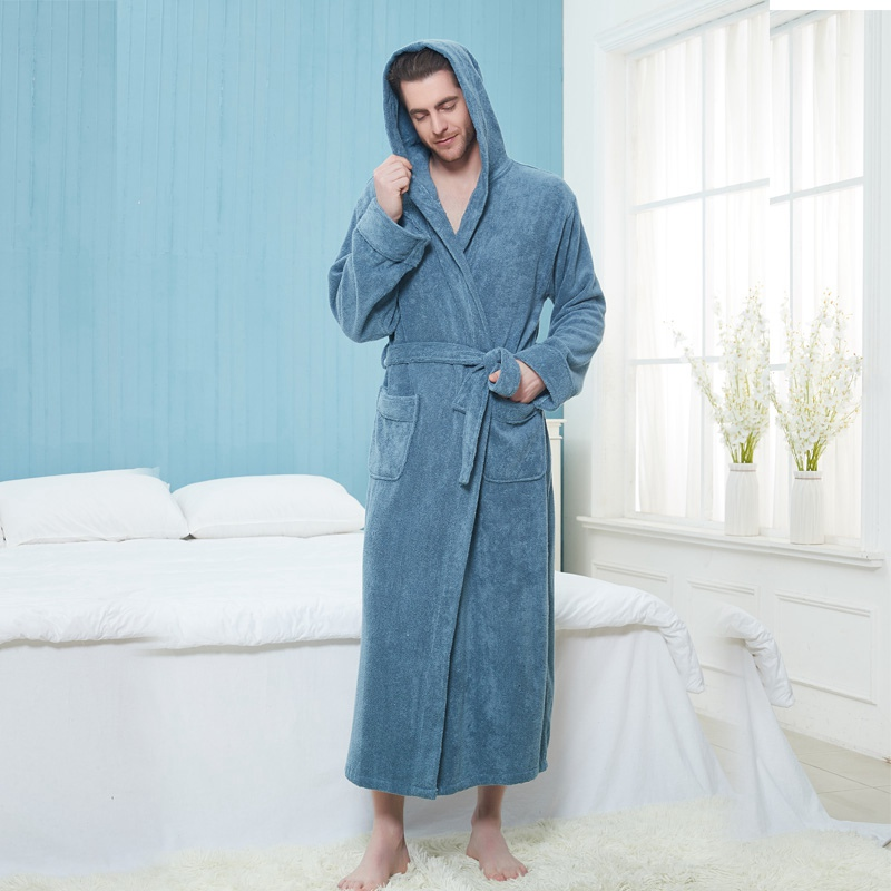 Men Bathrobe Extra Long Thick Warm Cotton Plus Size XXL Winter Men's Robe Luxury Kimono Bathrobe Bride Robes Male Gown