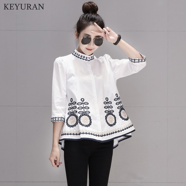 New Arrival 2020 Spring Autumn Ethnic Embroidery Women Shirts Stand Collar Three Quarter Sleeve Casual Loose Blouse Tops L3024 3
