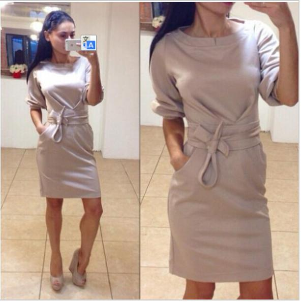 2018 Brand New Winter Fashion O-neck Dress Plus Size Half Sleeve Casual Dress With Pocket Women Dress Vestidos dress eunice lai