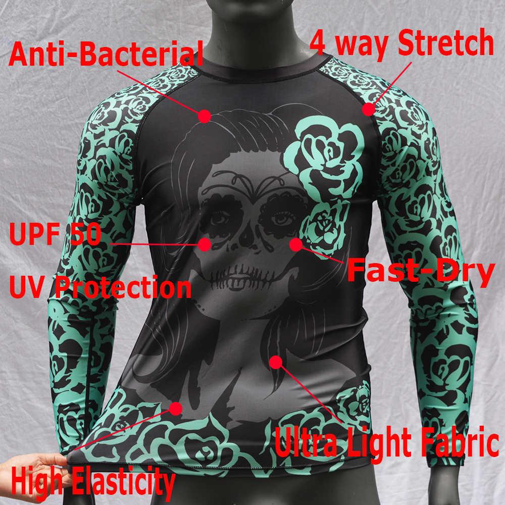 Manga larga UPF50 traje de baño hombre estampado Floral natación Rashguard 2019 Surf camisa hombres protección UV Rash guardia camisas playa