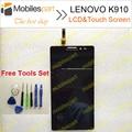 Tela de lcd para lenovo k910 100% acessórios display lcd + de tela de toque de substituição original para lenovo k910 smartphone