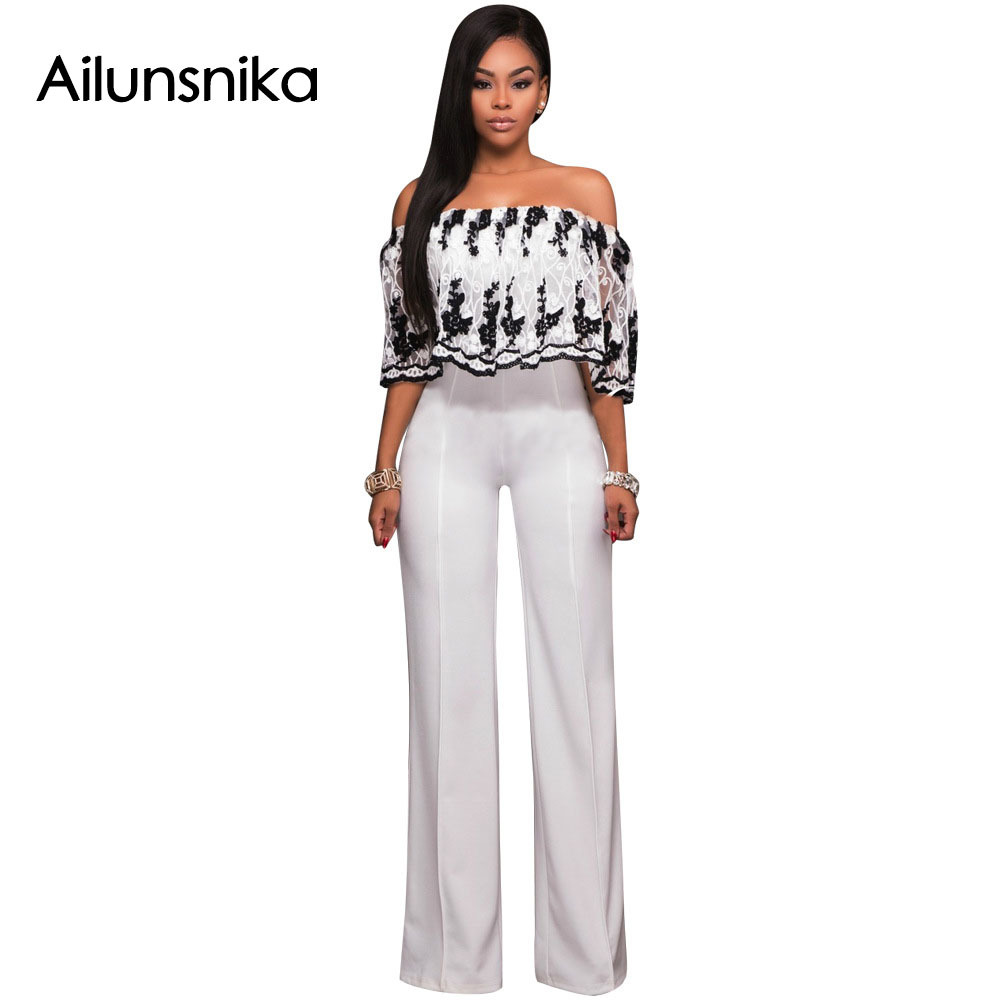 Ailunsnika 2018 Summer Women Sexy Fashion Rompers Lace Embroidery Slash Neck Half Sleeve Nightclub Full Length Jumpsuits SC043