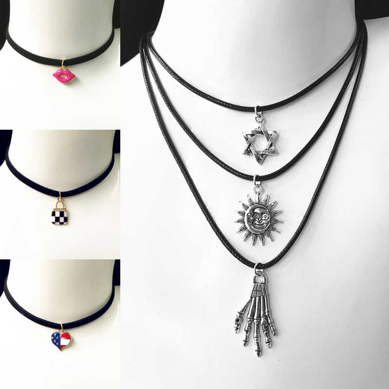 Gothic Choker Necklaces Women Clavicle Collares Fashion Jewelry Bijoux Colier One Direction Necklace 80'S 90'S One Direction