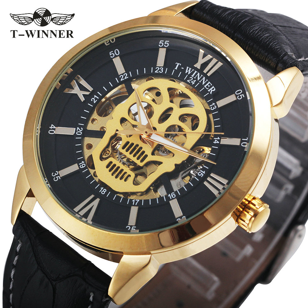 WINNER Fashion Cool Men Skeleton Automatic Mechanical Watch Black Genuine Leather Strap Golden Skull Design Rocking Wristwatch winner men fashion black auto mechanical watch leather strap skeleton dial square shape round case unique design cool wristwatch