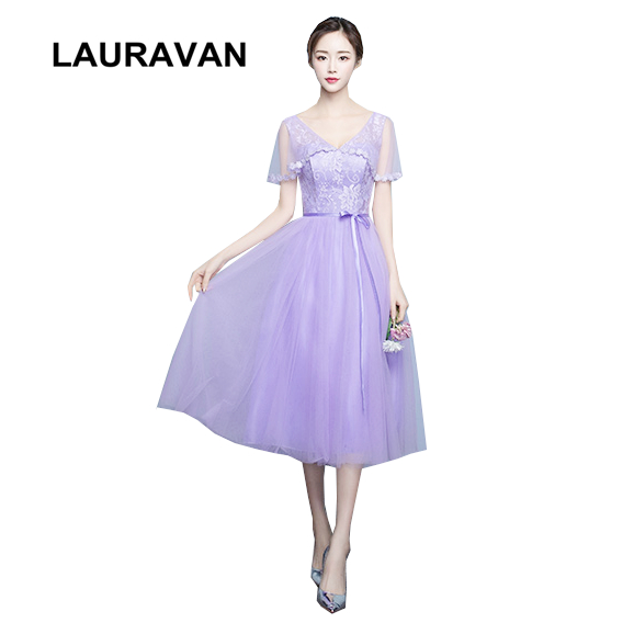 Beautiful Light Purple Lilac Bridemaid Tea Length Bride Maids Dress Bridemaids Formal Dresses Robe De Soiree 2019 Ball Gown