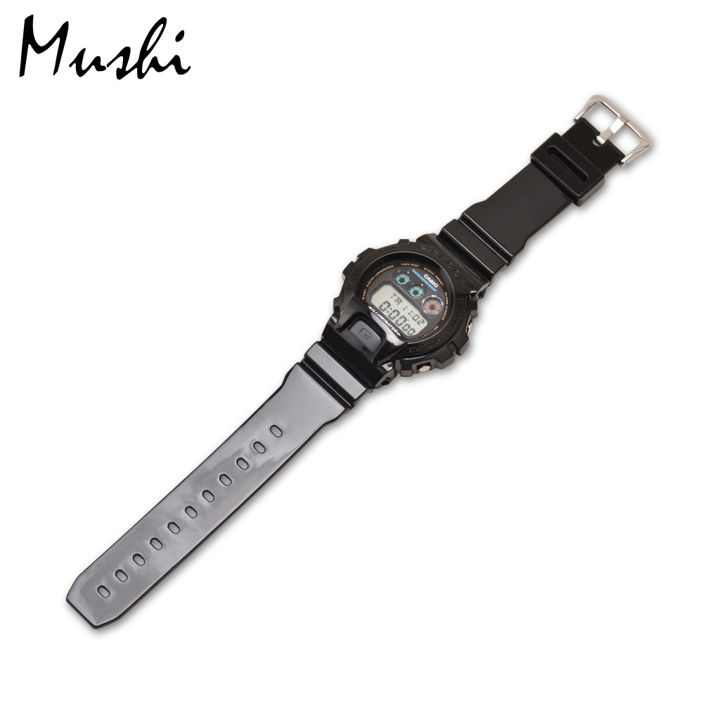 39ed4d3d393 Relógio De Borracha Correia 16mm para Casio Mushi DW 6900 Black Caixa do Relógio  de Pulseira