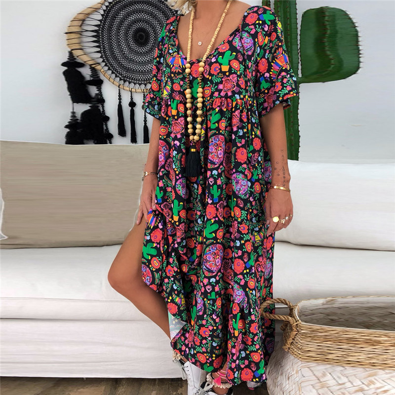 JAYCOSIN 2020 Women Summer Dress Plus Size Lady Fashion Print Short Sleeve O-Neck Maxi Dress Loose Casual Dress Sundress jun5#4