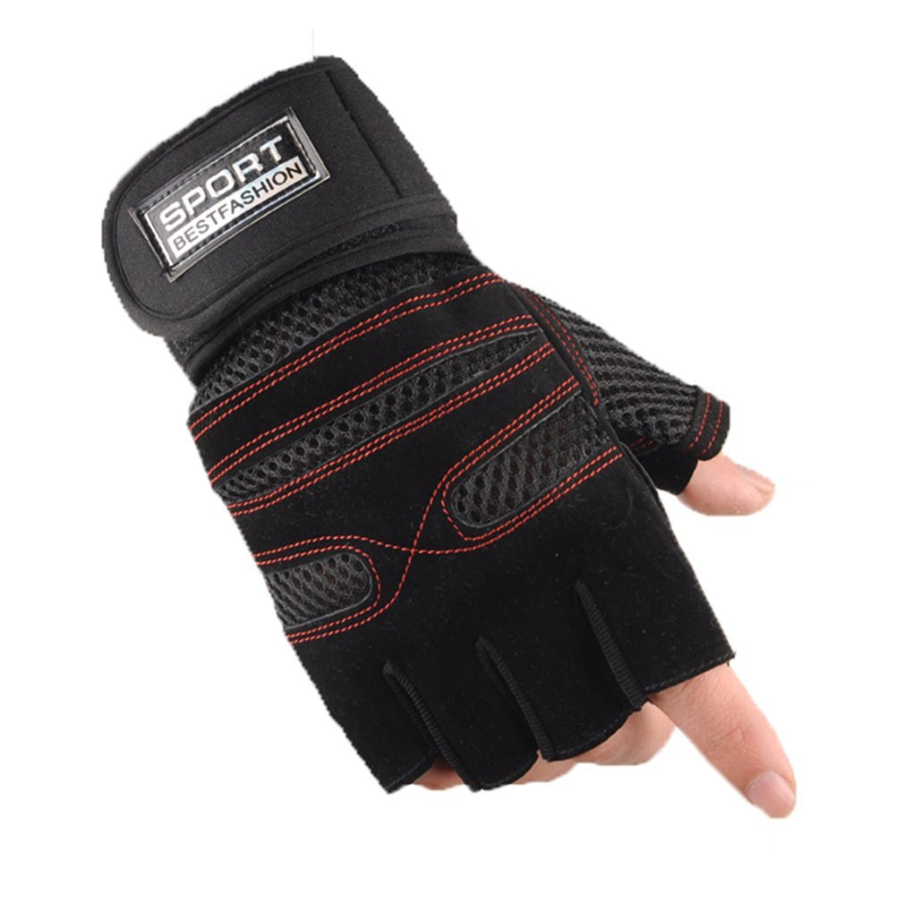 1 Pair Half Finger Gym Gloves Non-slip Breathable For Sports Fitness Training Weight Lifting Summer Riding Wrist Support Bracer