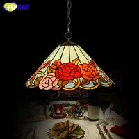 Античная Стиль пастырской творческий Тиффани Книги по искусству розы Стекло подвесной светильник Гостиная Ресторан Кухня Подвесная лампа