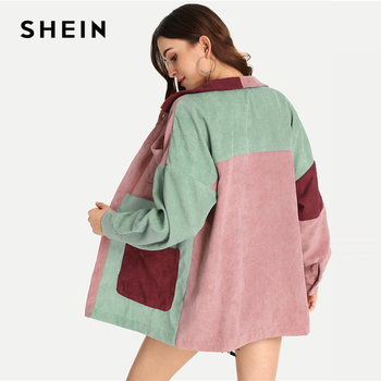 SHEIN Multicolor Elegant Modern Lady Cut and Sew Pocket Front Buttoned Coat 2018 Autumn Weekend Casual Women Coat And Outerwear 1