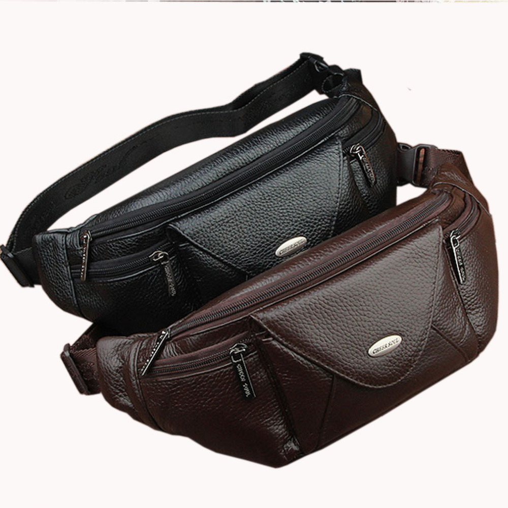 Men Genuine Leather Fashion Waist Bag Cell Phone Case Purse Hip Belt Fanny Pack Male Cowhide Sling Chest Back Day Pack ...