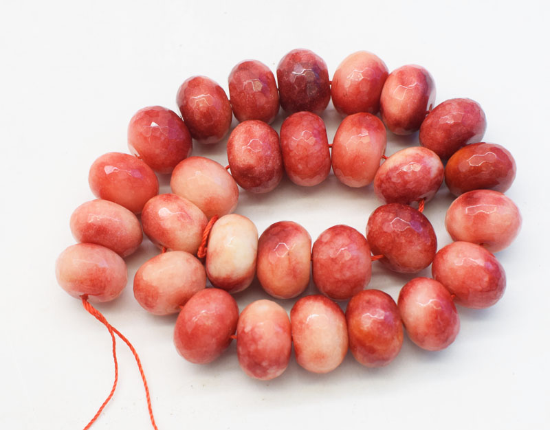 Pink Jade Faceted Crystal Roundel Gemstone Loose Beads