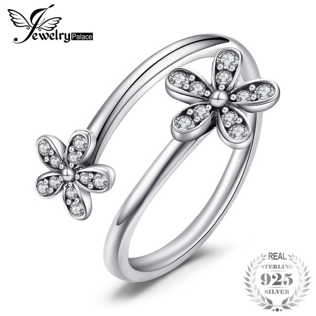 Jewelrypalace 925 Sterling Silver Shimmering Daisies Cubic Zirconia Open Ring Gi