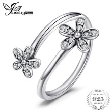Jewelrypalace 925 Sterling Silver Shimmering Daisies Cubic Zirconia Open Ring Gift Rings For Ladys Hot Selling Rings For Mom