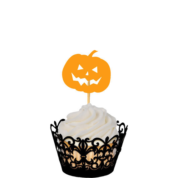 pumpkin halloween cupcake toppers cupcake toppers food picks toothpicks wedding bachelorette bridal shower party decorations in cake decorating supplies