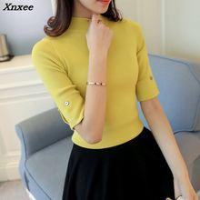 2018 Hitz Korean half sleeve shirt collar solid elastic thin sweater five Sleeve Sweater Girl Xnxee недорого