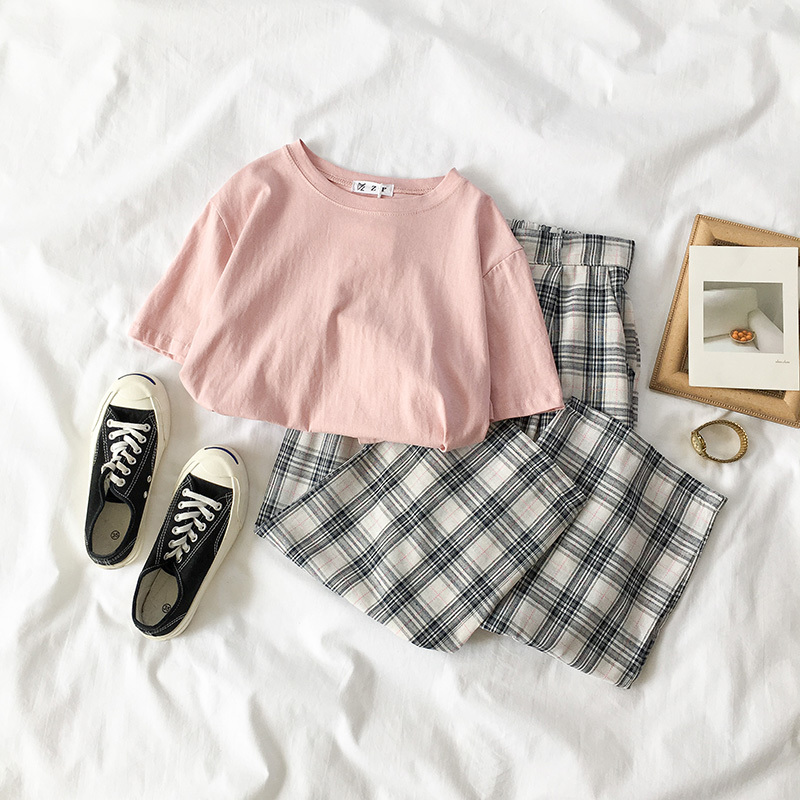 2 Piece Set Summer Women Solid Short Sleeve T-shirt+Plaid High Waist Pant Set Fashion Korean Sweet Wide Leg Pants Summer Clothes
