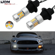 IJDM 고출력 T20 7440 LED 28 SMD 3030 LED 주간 주행 등/방향 지시등 변환 키트 2015 up Ford Mustang
