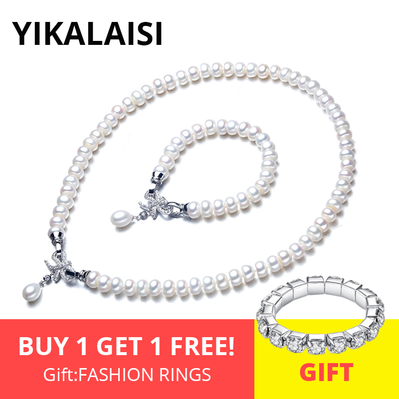 YIKALAISI 925 Sterling Silver Natural Freshwater Pearl Necklace Bracelet Butterfly Sets Jewelry For Women 8-9mm Pearl 4 ColourYIKALAISI 925 Sterling Silver Natural Freshwater Pearl Necklace Bracelet Butterfly Sets Jewelry For Women 8-9mm Pearl 4 Colour