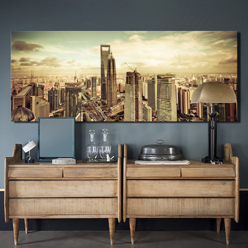 Aliexpress Com Buy Unframed Mordern Modular Pictures Wall Art Home Decoration Canvas Print Painting Shanghai Hongkong Landscape Picture Hh006 From