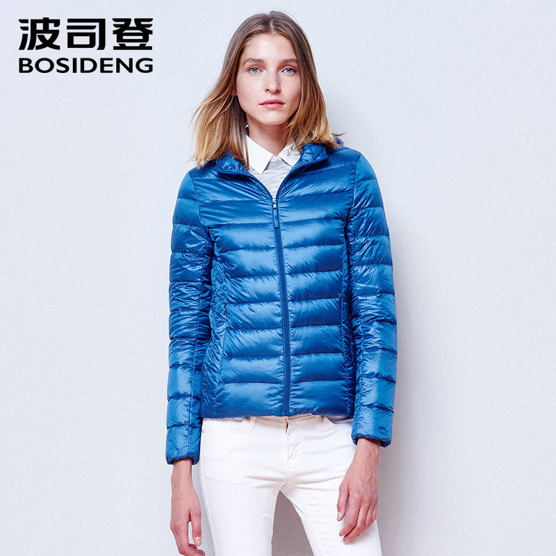 BOSIDENG women's clothing winter   down     coat   hoodie   down   jacket ultra light high quality clearance sale Blue B1501026