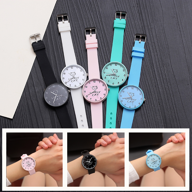 Fashion Cute Cat Girl Watch For Children Students Clock Boy Watches For Kids Christmas Gift Child Wristwatches Relogio Kol Saati