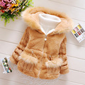 High Quality New Arrival 2016 Girls Jackets and Coats Winter Faux Fur Long Sleeve Kids Baby Coats