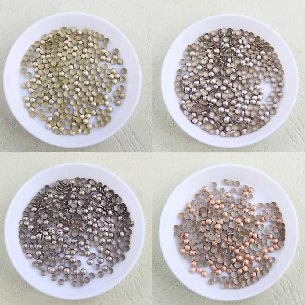 144 pcs/lot round iron-on hotfix aluminum metalic with adhesive Hot drilling DIY clothes/garment accessories