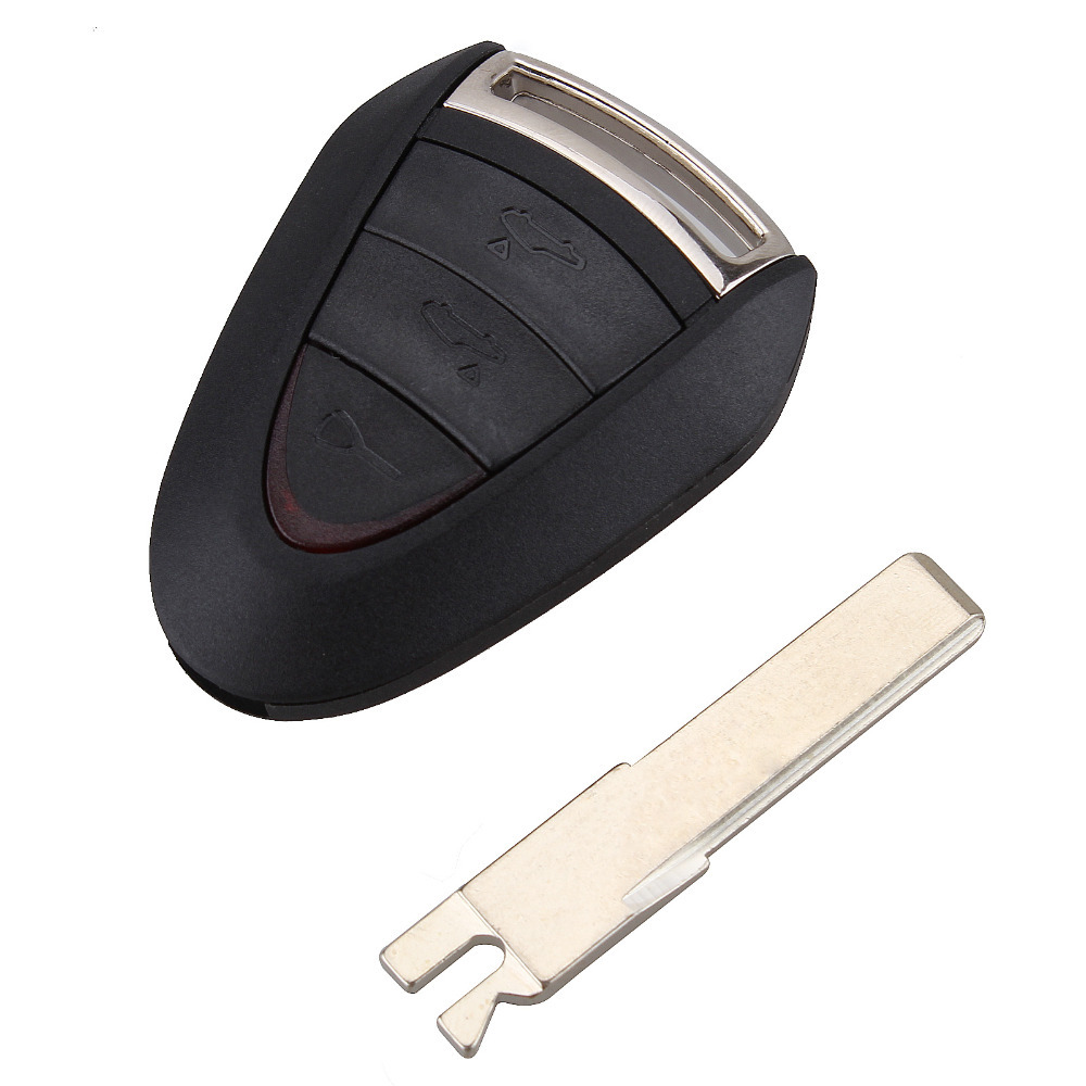 Replacement 3Button Remote Car Key Case Combo Uncut Blade Flip Fob Car Key Shell for Porsche Cayenne 996 Boxster S 911 No Chip