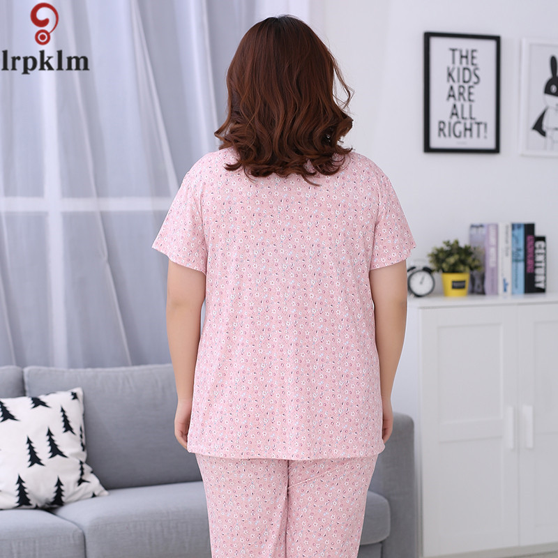 5b0fb88c8a Cotton Elegant Print Pajama Set Women Short Sleeve Top and Full Pants  Vintage Pyjamas Suit Female Night Clothes 4XL 5XL SY518-in Pajama Sets from  Underwear ...