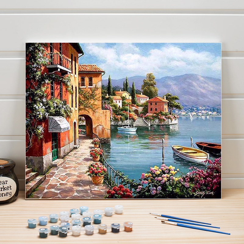 DIY Pictures Painting By Numbers Landscape Europe Acrylic Paint On Canvas For Living Room Wall Arts Home Decoration Crafts Woman