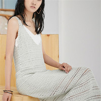 100% hand made wool knit women fashion hollow out solid Vneck long braces skirt white 4color customized