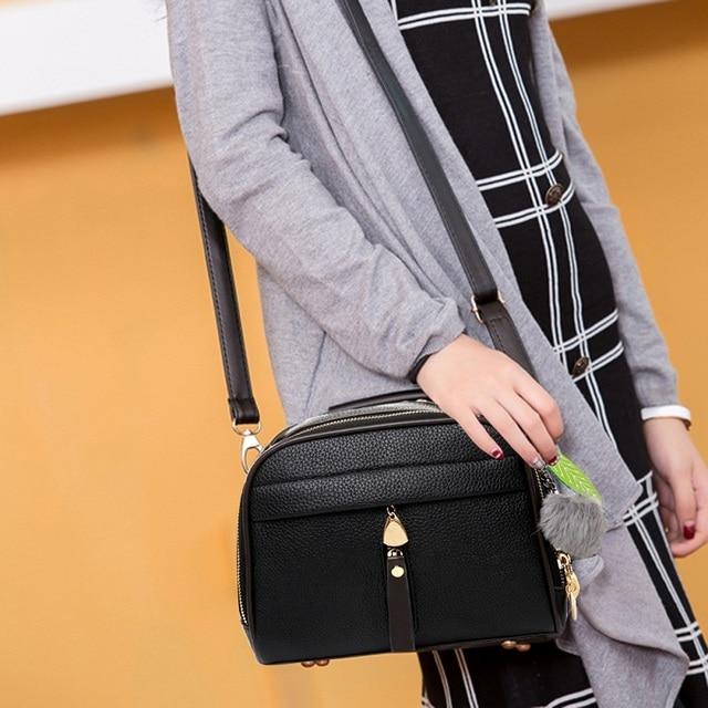Stylish Women Handbag PU Leather Cute Mini Messenger Shoulder Bags With Ball Toy Bolsa Feminine Female Party Shopping Handbags 5