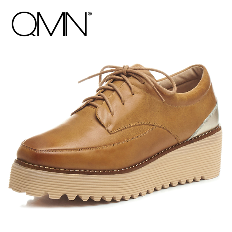 ФОТО QMN women metallic-paneled brushed leather brogue shoes Women Square Toe Oxfords Casual Shoes Woman Leather Platform Flats