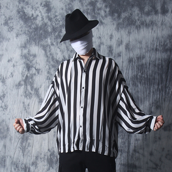 Nightclub clothes men's black and white striped loose shirt summer hairstylist fashion bat sleeve long-sleeved shirt costumes