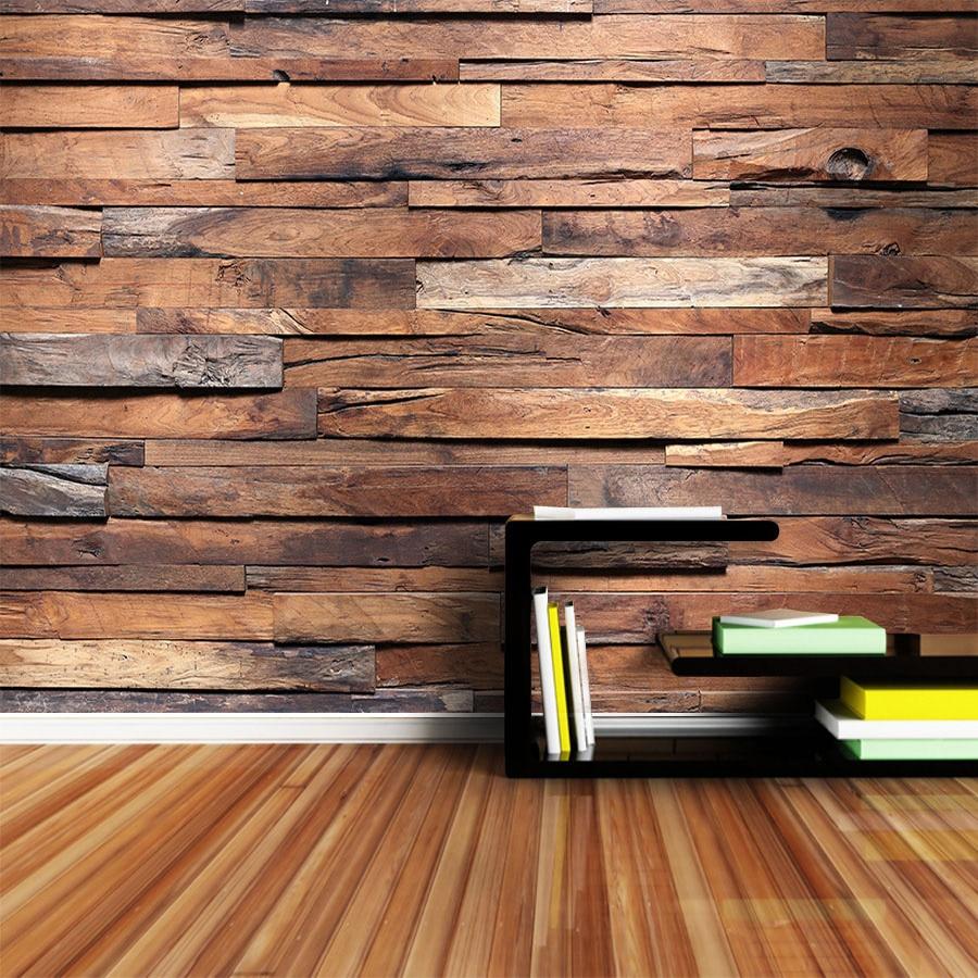 Custom 3D Photo Wallpaper Retro Wood Grain Wood Board Mural Wallpapers For Living Room Kitchen Restaurant Decor Papel De Parede